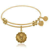Expandable Bangle in Yellow Tone Brass with Proud Daughter U.S. Air Force Symbol