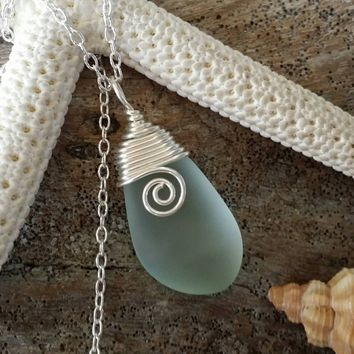 Design and handmade in Hawaii, Wire wrapped  seafoam  sea glass necklace, Sterling silver chain, gift box,sea glass jewelry, gift for her.
