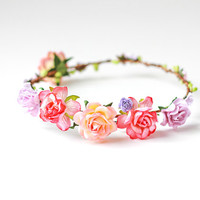 romantic floral circlet / rose crown, festival floral crown, floral headpiece, wedding bridal festival headband.