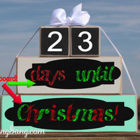 Christmas countdown chalkboard blocks. Holiday countdown. Weeks until Santa. Fast shipping!