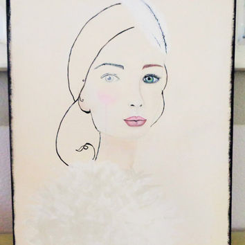 Abstract Girl Original Artwork. Green Eyes White Feather Fashion Portrait. Acrylic and Pen Figurative Painting.