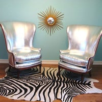Vintage HOLLYWOOD REGENCY Pair SILVER Exaggerated Wingback Lounge Chairs