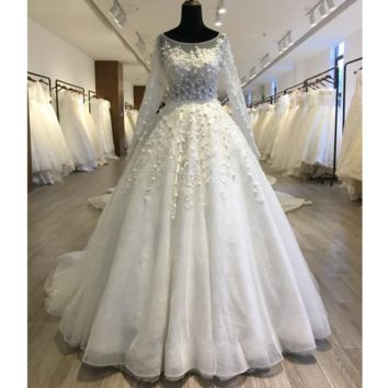 Long Sleeve Vivid Flower Shinny Tulle Wedding Dress Ball Gown Button Back