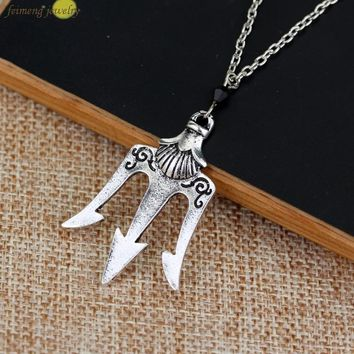 2016 Free Shipping a Lot Percy Jackson The Olympians The Sea of Percy Jackson Necklace Poseidon Necklace For Men And Women