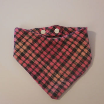 Plaid Bandana Bib, Pink and Gray Plaid, Size Newborn to 24 months