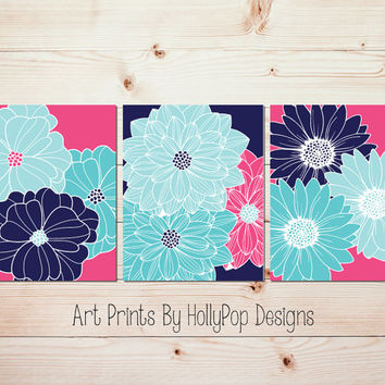 Bright colorful wall art Hot pink navy art Girls room decor Floral prints Girl nursery art Flower art Dahlia decor Girls bathroom art #1433