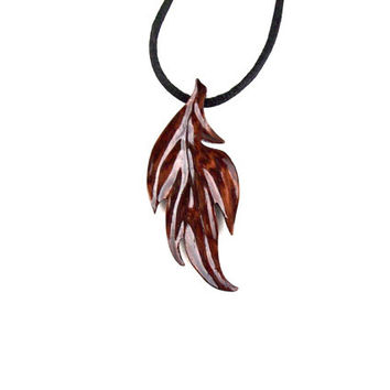 Leaf Necklace, Leaf Pendant, Wooden Leaf Pendant, Wood Leaf Necklace, Carved Leaf Pendant, Leaf Jewelry, Wood Carved Pendant, Wood Jewelry