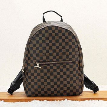 LV Louis Vuitton Fashion New Monogram Check Print Couple Travel Business Casual Backpack Bag Coffee