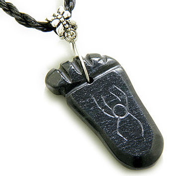 Good Luck And Protection Talisman Foot Black Serpentine Pendant Necklace