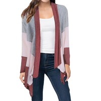 Womens Fashion Tri-Color Cardigan Coat +Gift Necklace