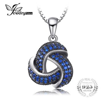 JewelryPalace 0.5ct Created Blue Spinel Flower Wraparound Cluster Pendant Necklace 925 Sterling Silver Jewelry for Women