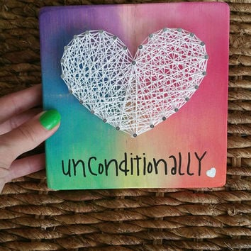 Love Unconditionally String Art Sign, Rainbow Heart String Art, Unique Gift Made to Order
