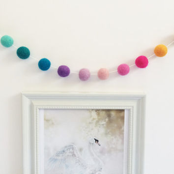 Rainbow Felt Ball Garland - Nursery Decor/Home Decor/Wedding Decor/Baby Shower/ Birthday Party