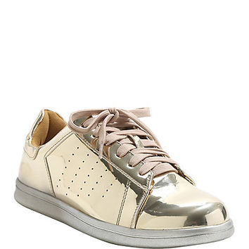 Gold Lamé Lace-Up Sneakers