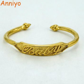 Anniyo Gold Color Bangles For baby Arab Dubai Charm Jewelry Ethiopian Child Bracelets Nice Gift #005410