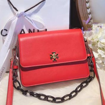 Tory Burch Trending Multicolor Women Stylish Pure Color Leather Shoulder Bag Crossbody Satchel Red I-WXZ2H