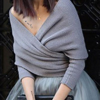 Low-Cut V-Neck Wrapped Sweater