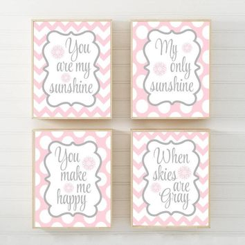 PINK GRAY You Are My Sunshine Wall Art Decor, My Sunshine CANVAS or Prints Pink Gray Baby Girl Nursery Song Rhyme Quote Decor, Set of 4
