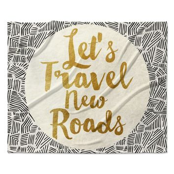 "Pom Graphic Design ""Let's Travel New Roads"" Gold Black Fleece Throw Blanket"