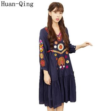 High Quality Runway 2017 Summer Women Vintage Boho Mexican People Luxury Embroidered Loose Dress Vestido Party Dresses Plus Size