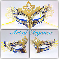 Sophia's Princess Collection Blue Gold Charismatic Venetian Masquerade Filigree Metal Laser Cut Mask w Sparkly Rhinestones Designs