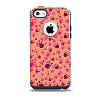 The Pink & Tan Paw Prints Skin for the iPhone 5c OtterBox Commuter Case