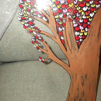 Tree of Love with Hearts Painted on 14x11 Glass for A Picture Frame Valentines Day