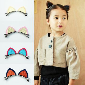 1Lot=2Pcs Stereo Double Cat Ears Clips With Sequins Ears Hair Clip Cute Fan Lovely Shape Hairpins Children Hair Accessories