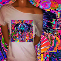 Jimi Hendrix Psychedelic Off The Shoulder Tee