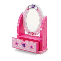 Melissa & Doug Decorate-Your-Own Wooden Vanity Craft Set (Pink/White)