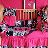 hot pink zebra dot baby bedding