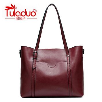 High Quality Soft Genuine Leather Women's Shoulder Bag First Cow Skin Bags For Women Large Famous Brand designer Ladies Handbag