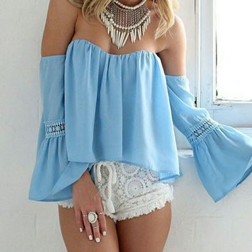 Blue Off Shoulder Lace Blouse