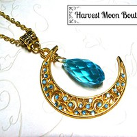 Gold Tone Filigree Crescent Moon Necklace with Aqua Blue Crystal Bead Wiccan Pagan Celestial Jewelry