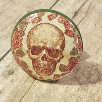 Handmade Skull and Roses Knob Drawer Pulls, Birch Wood, Cabinet Pull Handles, Skeleton Dresser Knobs, Made to Order