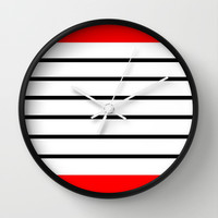Red and Black Stripes Wall Clock by Kat Mun
