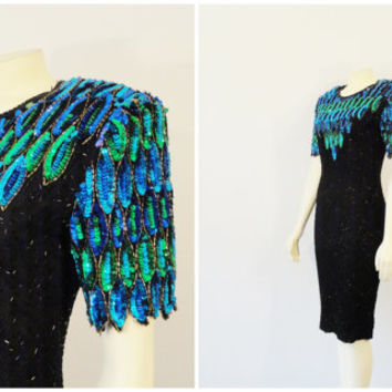 SALE Vintage Dress 20s Style Great Gatsby Art Deco Beaded Silk Cocktail Dress Stenay Beaded Sequin Turquoise Green &  Black Size 4 Modern Sm