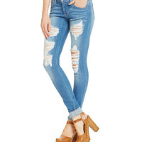 Flying Monkey Distressed Skinny Jeans | Dillards