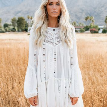 Kiss Kiss Embroidered Lace Tunic - Ivory - FREE PEOPLE