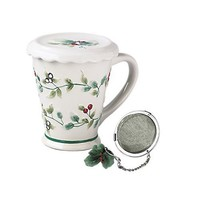 Pfaltzgraff Winterberry 12-Ounce Covered Stoneware Mug with Stainless-Steel Tea Diffuser