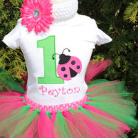 Girls 1st  2nd 3rd 4th 5th birthday Ladybug Tutu Outfit/ garden birthday hot pink green red black  Birthday/ baby girl's shirt/ personalized