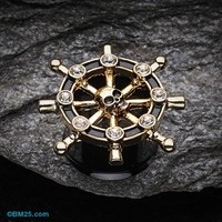 Golden Pirate Ship Anchor Wheel Ear Gauge Plug
