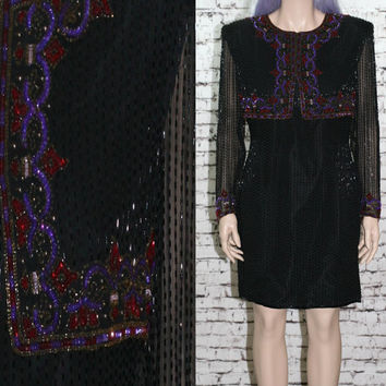 90s cocktail dress prom party silk beaded black jewel tone purple wine brides maid grunge goth festival boho hipster gypsy M 70s india