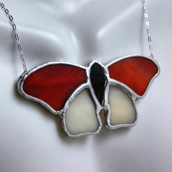 Stained Glass Butterfly Necklace, Red Orange, Cream & Grey