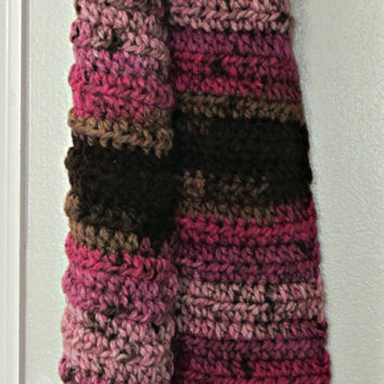Crochet winter scarf, multi color winter scarf, winter scarf, pink winter scarf, womens winter scarf, pink multi colored scarf