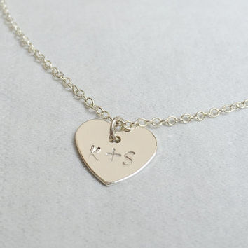 Couples Initials necklace, Couples necklace, Silver,Tiny initial necklace, tiny necklace silver, pendant necklace, Personalized, Women, Gift