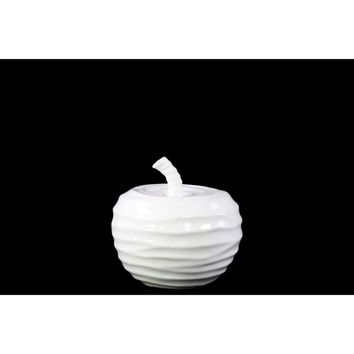 Splendid Apple Figurine with Embossed Wave Surface-Small-White-Benzara