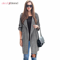 AKSLXDMMD Fat MM Large Size 2016 New Autumn Women Cardigan Coats Loose Thin Long-sleeved Bunker Long Trench Coat Female LH242