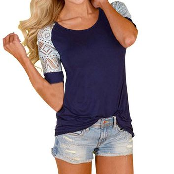 Hot Fashion Women Summer Shirts Casual T shirt  Lace T-Shirt Short Sleeve Clothes