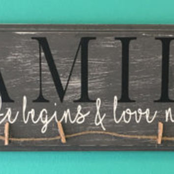 Family where life begins and love never ends rustic antique photo hanger